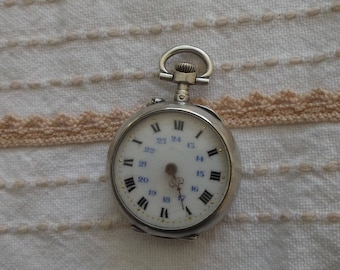 Pocket Watch Roman numerals, silver case - old pocket for pendant watch - FOB for collection watch