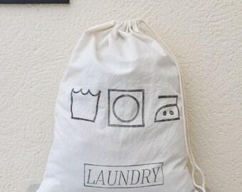 Drawstring Laundry Bag, Lino Printed Laundry Symbols Bag, Travel Washing Bag, Spring Cleaning, Drawstring Bag, University, College Laundry