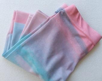 Capri Yoga Pants - Pink Blue, Workout Leggings, Capri Gym Pants, Hot Yoga Pants Tight, Kawaii, Cotton Candy, Tights, Pastel Clothing