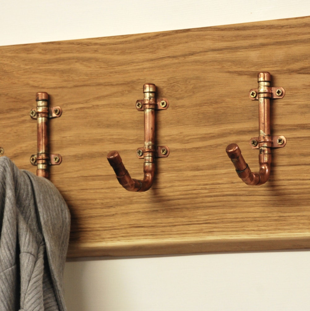 Industrial Copper Pipe Hooks  Fathers Day   Gift For Dad   Dad Gift   Wall  Coat Rack   Coat Hooks   Industrial Furniture   Copper Home Decor