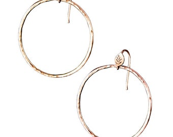 Forest Lake Hoop Earrings, Leaf and Textured hoop earrings, 14K Rose Gold Hoops