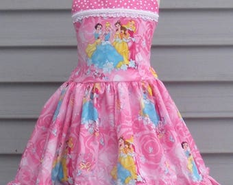 Made to Order Custom Boutique  Pink Disney Princess  Snow White Cinderella Belle Aurora Girl Dress Sizes 2 3 4 5 6 7 or 8