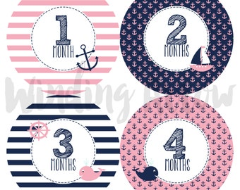 Monthly Baby Stickers Baby Girl Month Milestone Stickers Baby Shower Gift First Year Belly Sticker 12 Months Pink Navy Nautical Milestone