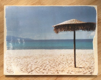 Beach photo transfer on wood