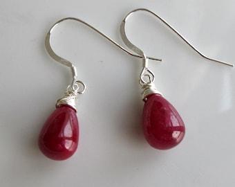 Ruby Earrings on Sterling Silver