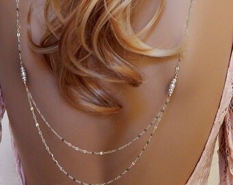 Wedding Necklace • Multi Strand Backdrop Necklace • Bridal Back • Necklace Pearl Necklace • Layered Back Necklace • Girlfriend Gift
