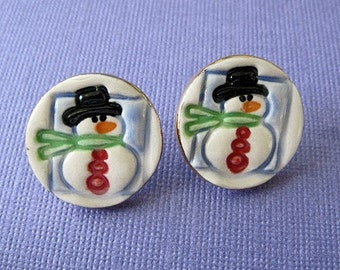 Snowmen Post Earrings Handmade Porcelain Ceramic Jewelry Christmas