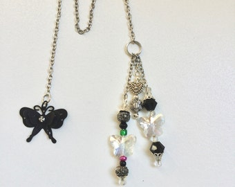 Silver Chain Beaded Handmade Bookmark with Black Butterfly
