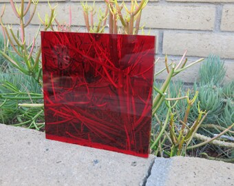 "Red Transparent #2423 Acrylic/Plexiglass Sheet 1/4"" x 5"" x 5"""