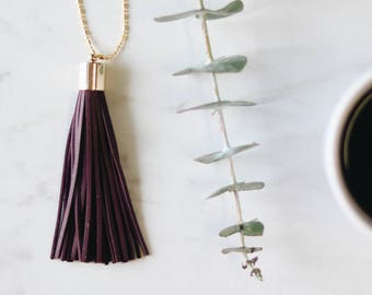 Mom Birthday Gift - Boho Tassel Necklace - Long Tassel Necklace Wine Leather