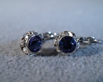 Vintage Silver Tone 2 Round Purple Multi Clear Rhinestone Dangle lever Back Style Pierced Earrings