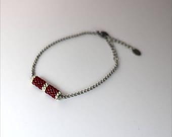 Red and Silver Tube Bracelet