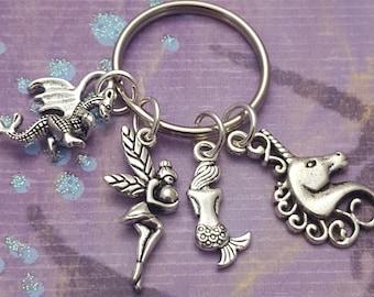 Fantasy Keyring, Magic Keychain, Mythical Creatures, Dragon Gift, Mermaid Gift, Unicorn Gift, Fairy Gift, Fantasy Lover, Magical Creatures