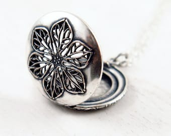 Silver Flower Locket Necklace, Vintage Locket