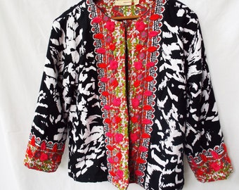 Bohemian Embroidered Black White Cotton Cardigan Jacket Ethnic  Red Pink Embroidery