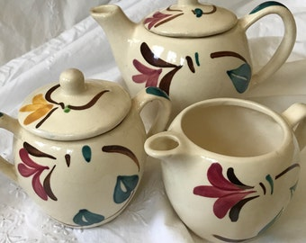 Delightful Vintage Teapot, Creamer & Sugar Set from Purington Pottery