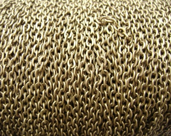 Chain Bronze Antiqued Brass 3x2mm Flat Oval Cable Links, 15 feet.
