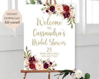 Welcome Sign Template Welcome Bridal Shower Sign Bridal Shower Decor Editable Welcome Signs PDF Sign For Bridal Shower DIY Burgundy Marsala