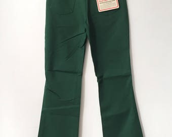 vintage wrangler boy's slim hunter green boot flare western jeans size 16 slim deadstock NWT 70s made in USA