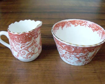 Set of  porcelain mini creamer and sugar bowl. Limited edition (#EV133)