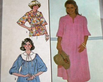"""Vintage, 1970s, Sewing Pattern, Simplicity 8480, Misses', Pullover Dress or Top and Tie Belt, Jiffy Pattern, Misses' Size 10, Bust 32 1/2"""""""