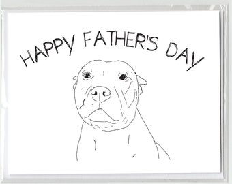 Happy Father's Day Pit Bull Greeting Card