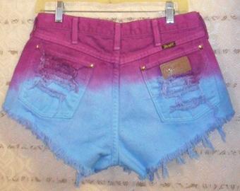 Vintage Wrangler Hand Dyed Denim Shorts - Studded--Waist 30  inches