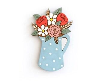 Flowers in a spotty jug ~ hand painted laser cut brooch