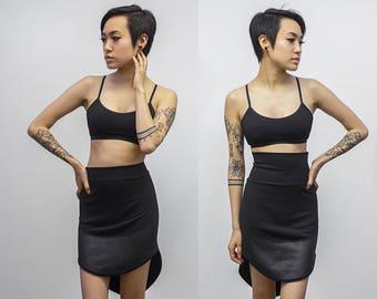 Cybele Skirt, Faux Leather Hem Detail