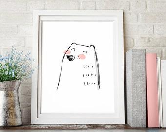 Bear Nursery Art, Bear Nursery Print, Bear Nursery Decor, Printable Wall Art, Kids Wall Decor, Digital Download Sketch Art, Instant Download