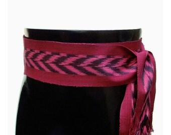 Cranberry Red Sash, SA58 - ikat Fabric - Bohemian Belt - Gypsy Clothing - Woven Sash - Guatemalan Textiles - Ethnic Belt - Pirate Sash