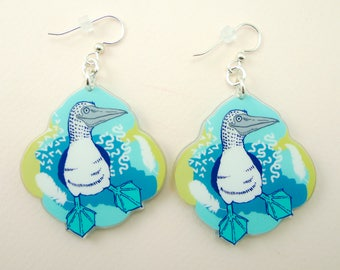 Blue footed booby jewelry, Blue footed booby gift, Blue footed booby earrings, cute earrings, animal jewelry, Blue footed booby