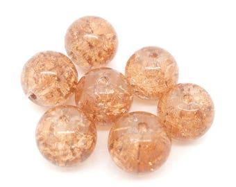 Round glass beads, Crackle effect, light orange color