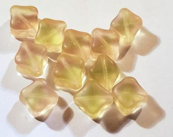 Vintage Blush Shot of Green Frosted Glass Beads