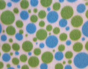 Blue & Green Dots Print Fleece Fabric (1.5 yards)