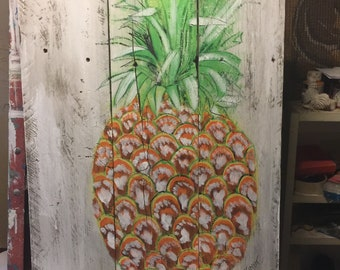 Hand painted pineapple on old wood