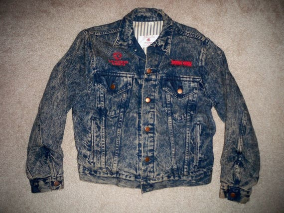 Video Movie Jean Vintage Denim Young Blue Medium Jacket Guns in Made Vestron Men's Size USA Studio Coat 8IEIS
