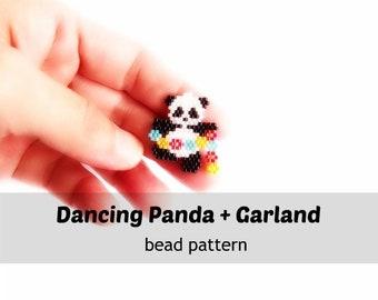 Brick Stitch Beading Pattern, Panda with Flower Garland