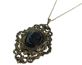 Vintage Victorian Revival Jet Black Cameo in Antique Gold Necklace
