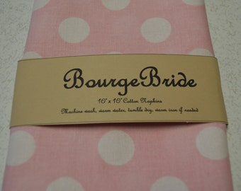 "10"" x 10"" Pink Polka Dot Cloth Napkins"