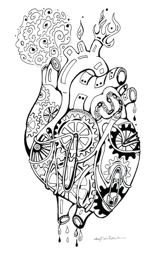Mechanisches Herz Färbung Kunstdruck Roboter 11 x 17