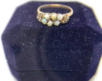 10K Yellow Gold Opal & Natural Seed Pearl Ring