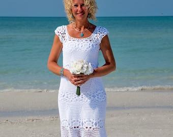 Crochet wedding dress Handmade White Dress wedding dress Crochet white dress  lace dress Summer cotton Dress crochet wedding gown