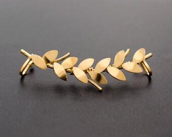 Statement jewelry, gold earcuff earring no piercing, elf ear cuff earring cuff, non pierced ear cuff, ear climber earring, gold ear cuff