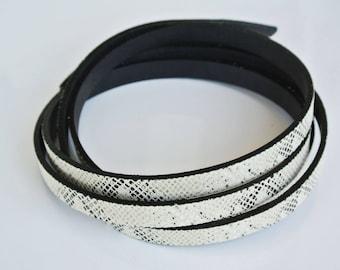 calf leather 20cm flat 10mm snake pattern