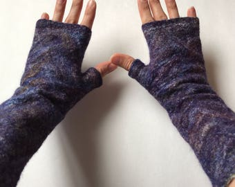 Felted Arm Warmers Burgundy Purple Blue Yellow  Multi Color Merino Wool Tussah Silk - Concord