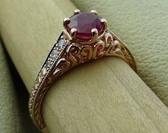 Antique Style Natural Round Ruby with Diamonds Engraved Filigree Engagement / Promise Ring 14k Rose Gold