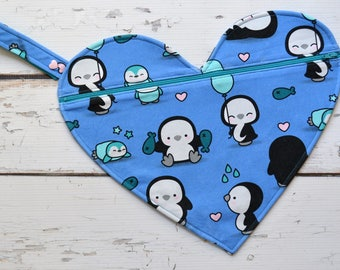12 x 14 Inch Heart Wet Bag in Penguins - Swimsuit Bag - Waterproof PUL Lined - Cotton Lycra Knit Outer