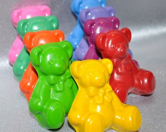 Recycled Crayons Teddy Bear Shaped Total of 24.  Boy or Girl Kids Unique Party Favors, Crayons.