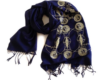 Solar & Lunar Eclipse scarf. Sun and Moon gold celestial print. Navy linen weave pashmina. Silkscreen design. More colors available!